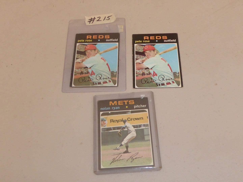 Lot # 215 - Two Vintage Pete Rose Baseball Cards & Nolan Ryan Baseball Card (main image)