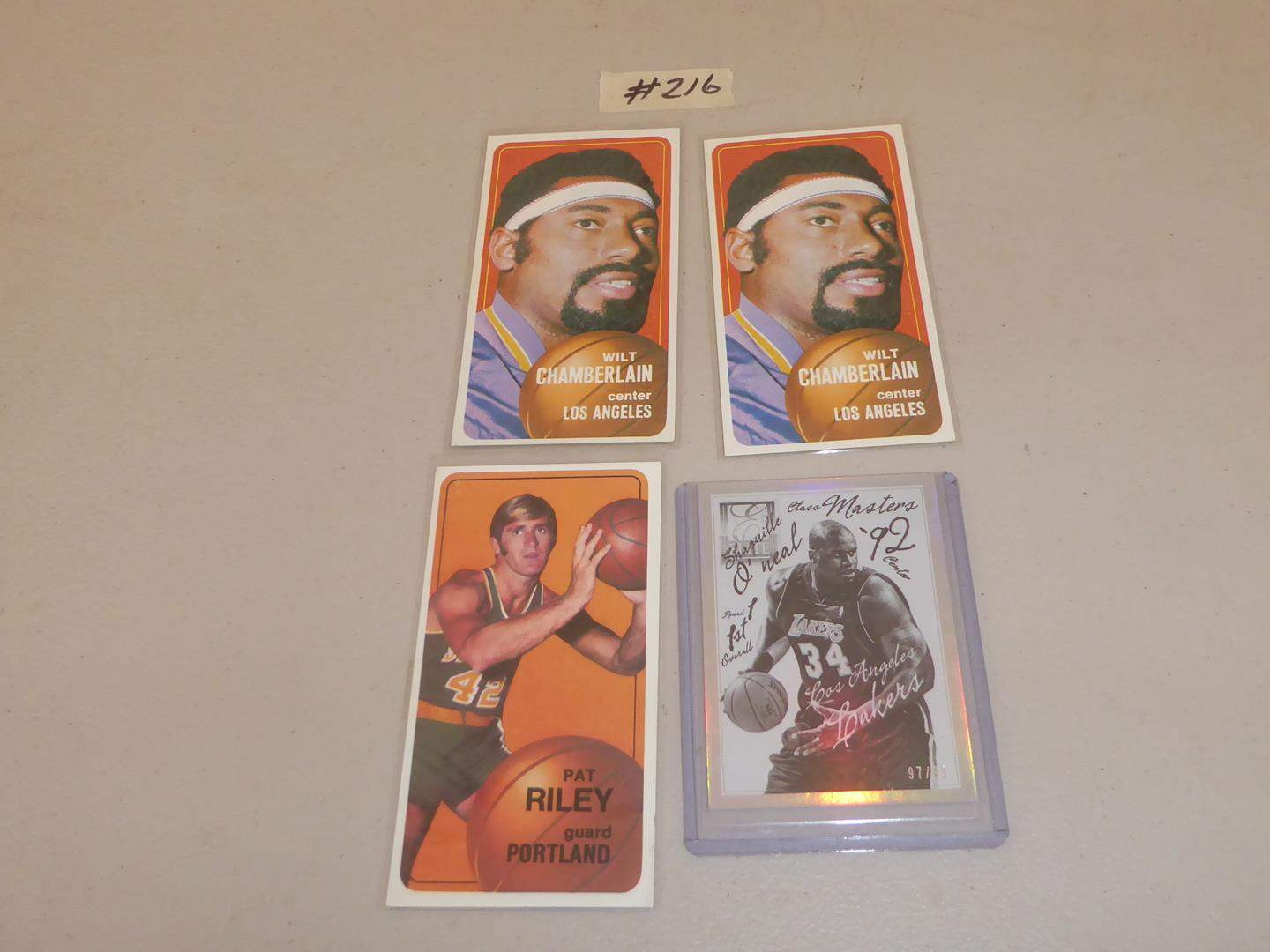Lot # 216 - Two Vintage Wilt Chamberlain Basketball Cards, Pat Riley & Shaquille O' Neal (main image)