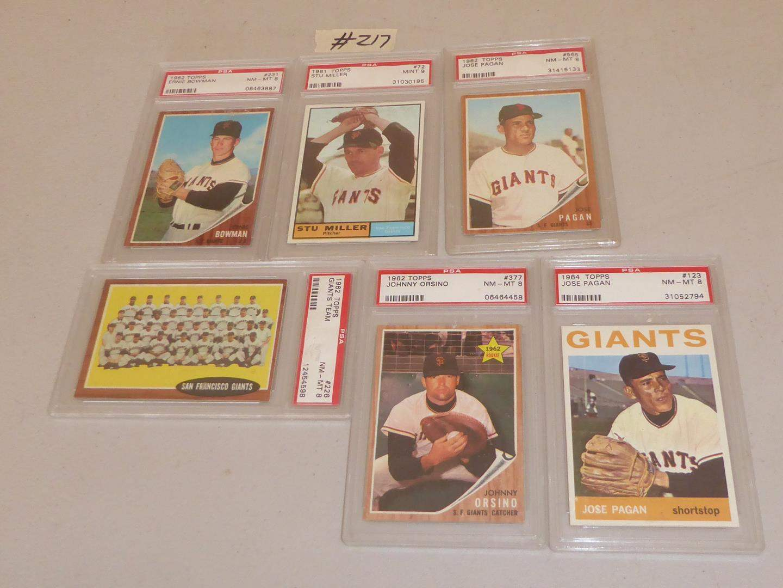 Lot # 217 - Graded 1962 Topps Giants Team NM-MT 8,  Ernie Bowman NM-MT 8, Johnny Orsino NM-MT 8, Jose Pagan NM-MT 8 & More  (main image)