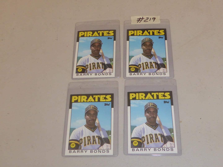Lot # 219 - Four Topps Barry Bonds Baseball Cards (main image)