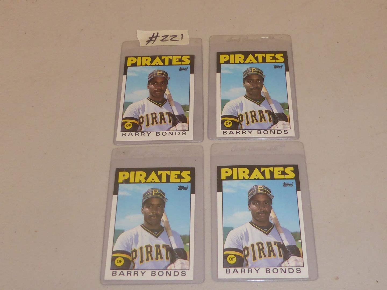 Lot # 221 - Four Topps Barry Bonds Baseball Cards (main image)