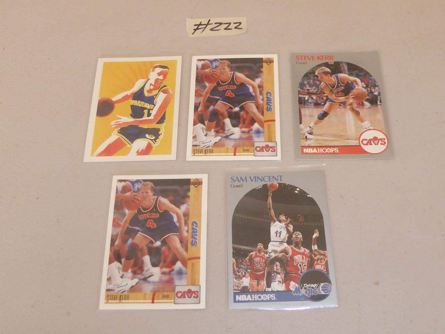 Lot # 222 - Steve Kerr, Sam Vincent & Chris Mullen Basketball Cards (main image)