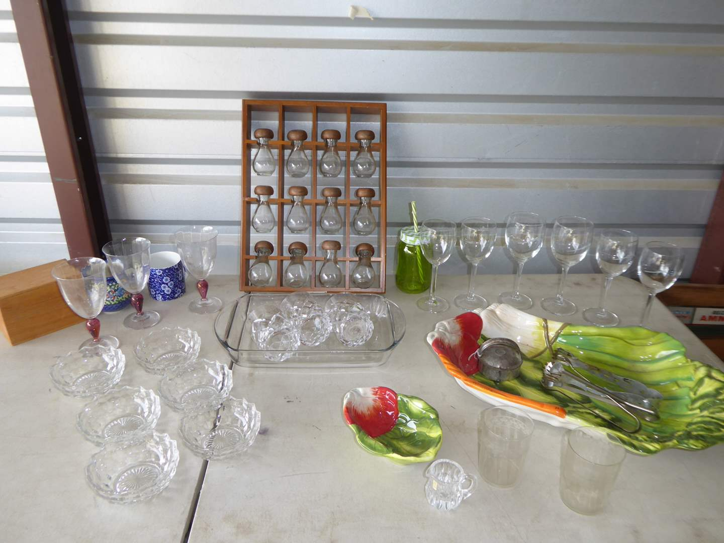 Lot # 14 - Wood & Glass Spice Containers, Serving Dishes & Stemmed Glasses (main image)