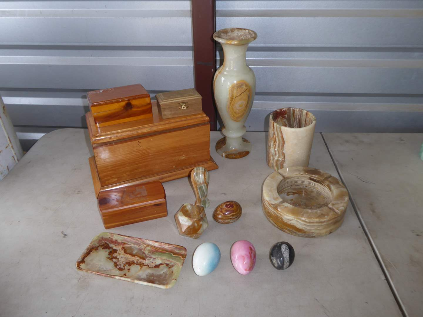 Lot # 20 - Wooden Boxes & Marble Onyx & Stone Collectibles (main image)