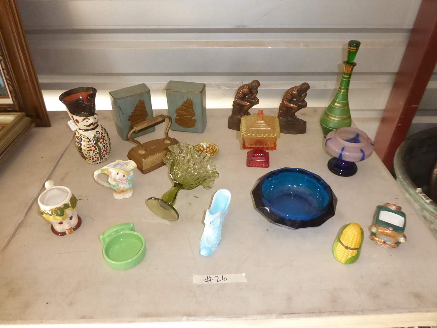 "Lot # 26 - Vintage Glass, Metal ""Thinker"" Book Ends & More  (main image)"