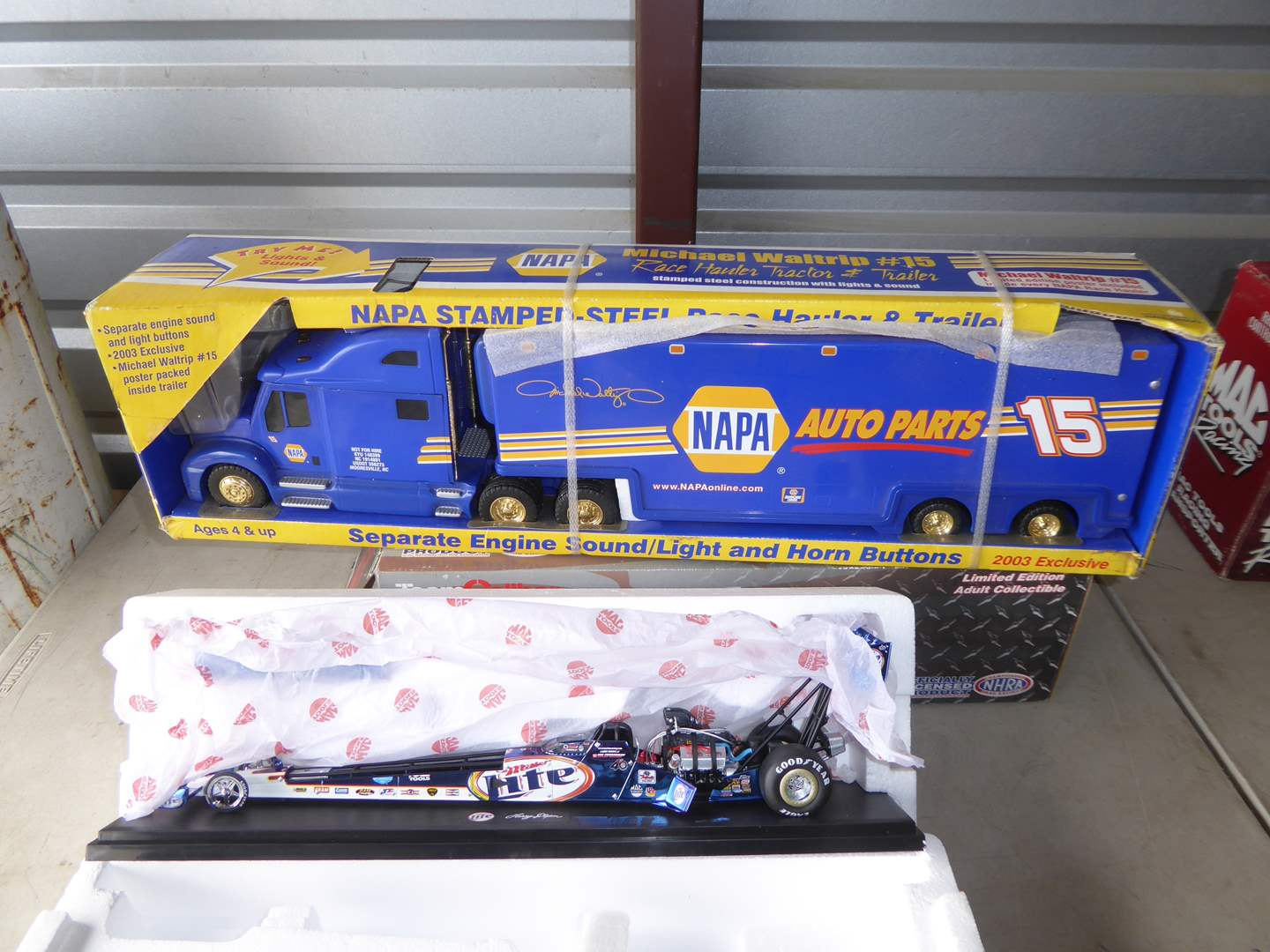 Lot # 38 - NAPA Auto Parts Scale Model Truck & MAC Tools Miller Lite Collectible  (main image)