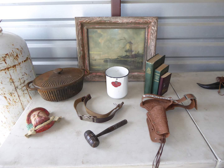 Lot # 46 - Mattel Dual Cap Gun Holder, Boy Scouts Belt, Vintage Framed Art & More  (main image)
