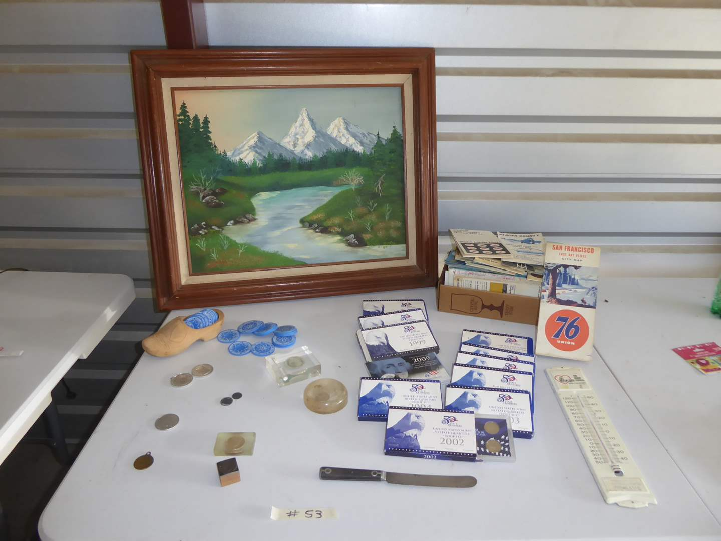 Lot # 53 - Framed Oil On Board & Collectible Mint Quarters, Coins & Maps  (main image)