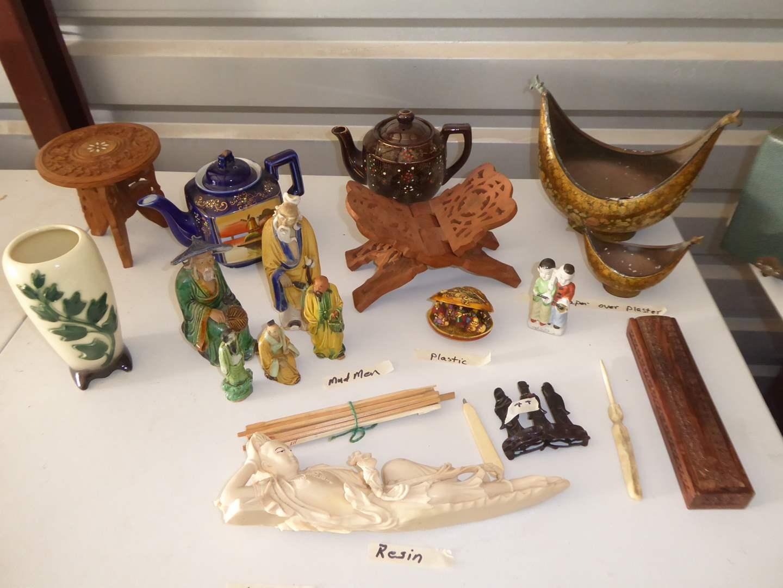 Lot # 58 - Mud Men, Ceramic Tea Pots & Resin Figurine  (main image)