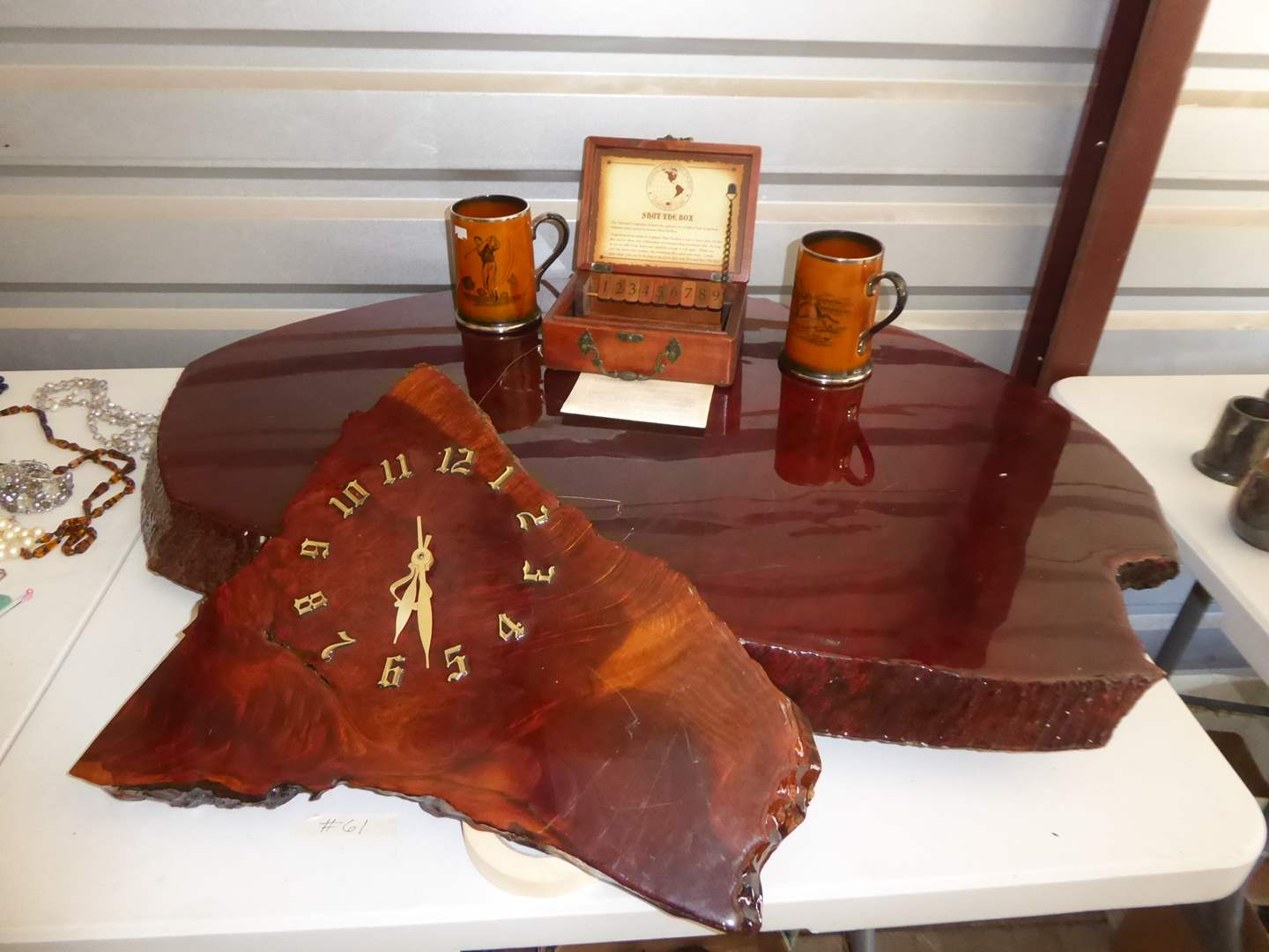 Lot # 61 - Burl Wood Table Top, Burl Wood Clock, Shut The Box Game & Mugs  (main image)