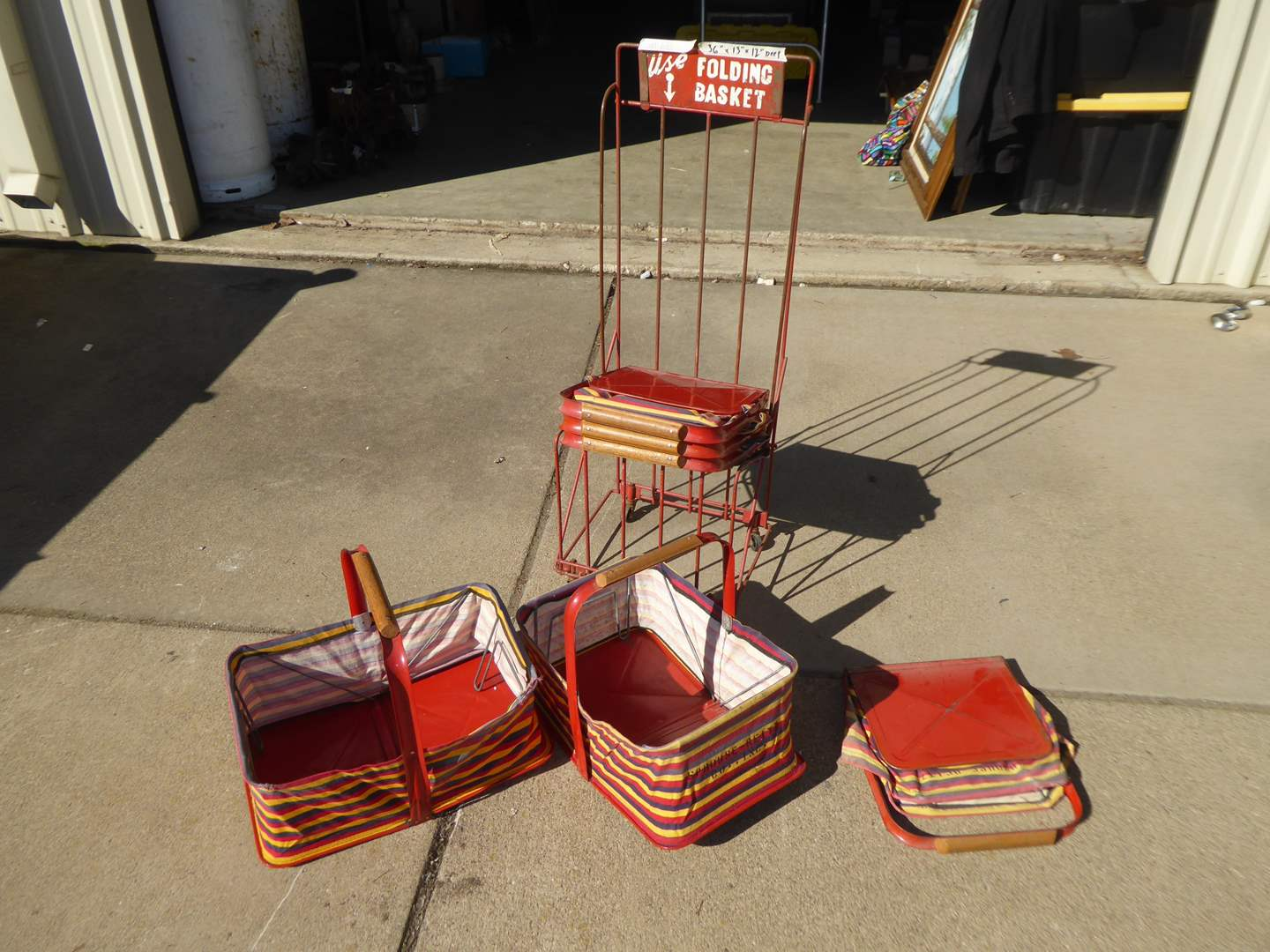 """Lot # 68 - Vintage """"Sprouse-Reitz"""" Cloth Shopping Baskets W/Cart  (main image)"""