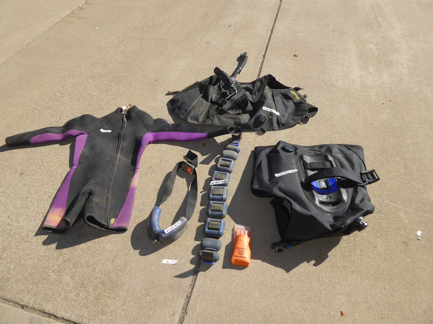 Lot # 70 - Scuba Tank Packs, Clothing & Weight Belts  (main image)