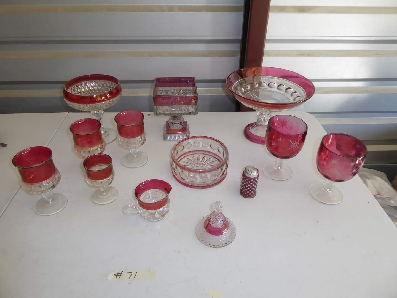 Lot # 71 - Vintage Cranberry & Clear Glass  (main image)