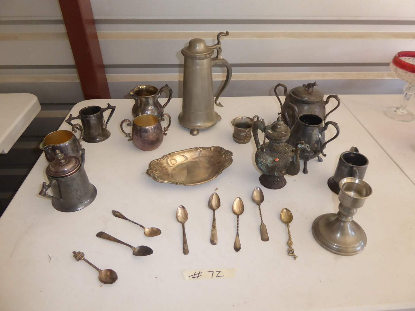 Lot # 72 - Silver Plated & Pewter Serve Ware & Spoons  (main image)