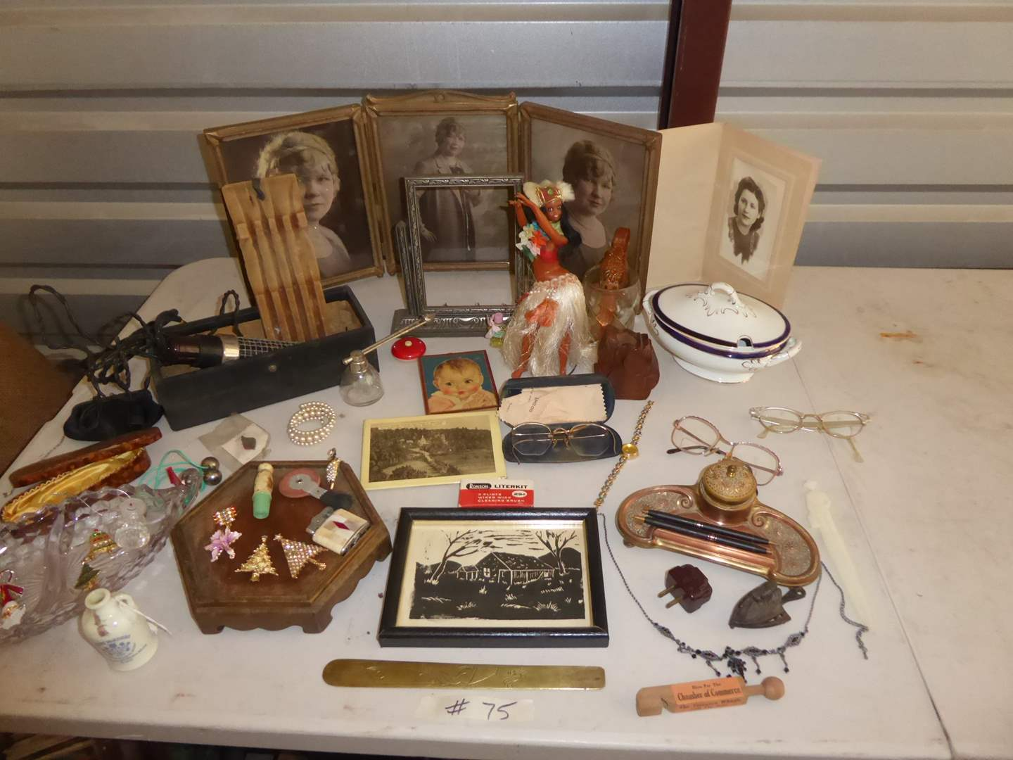Lot # 75 - Vintage Ladies Collectibles - Framed Pictures, Ink Well, Glasses & More  (main image)