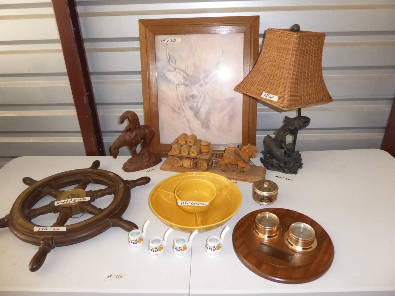 Lot # 76 - Framed Deer Print, Fish Lamp, Barometer & More  (main image)