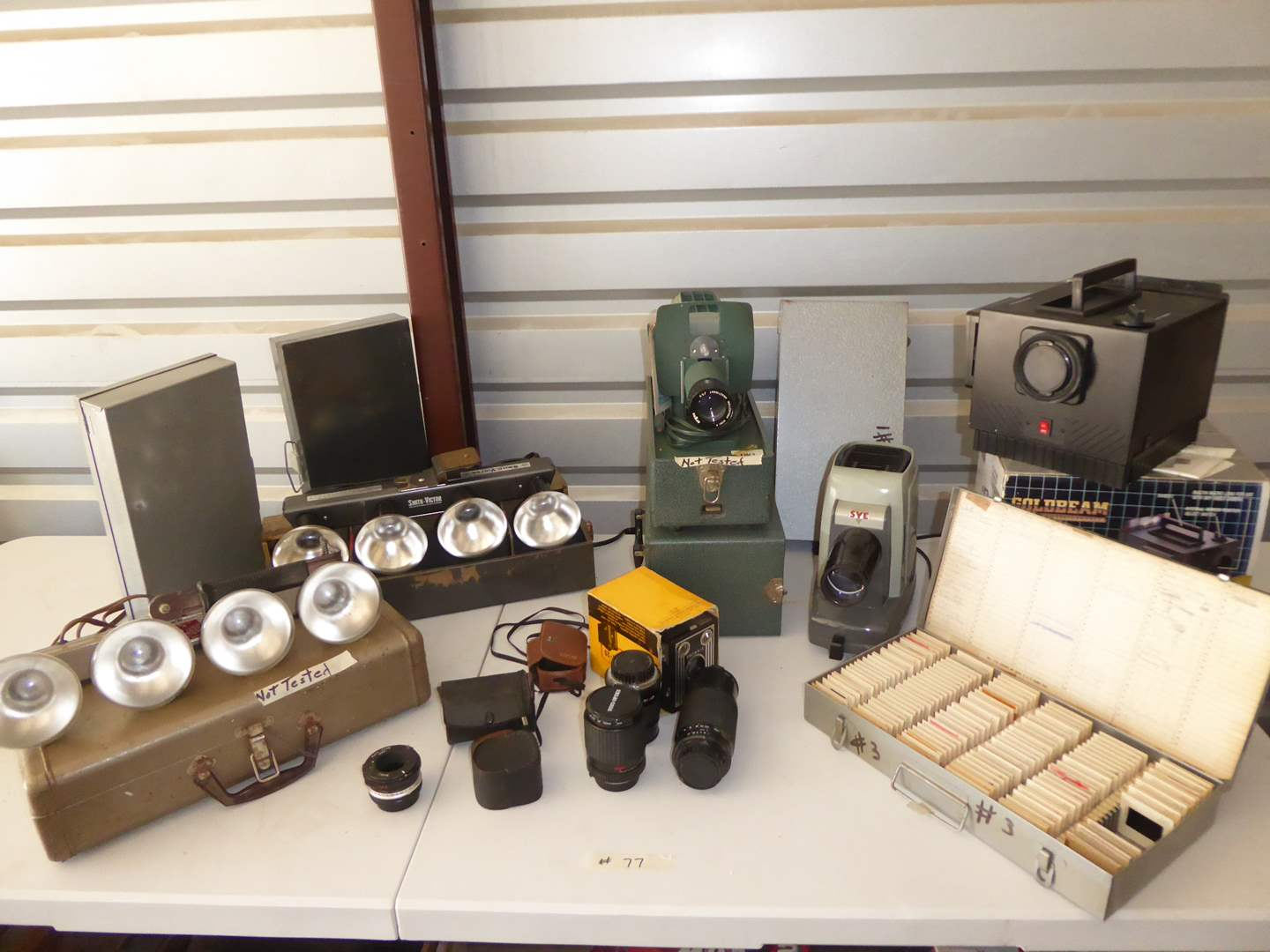 Lot # 77 - Vintage Argus 300 Projector, Slides, SVE Skyline & Lights  (main image)