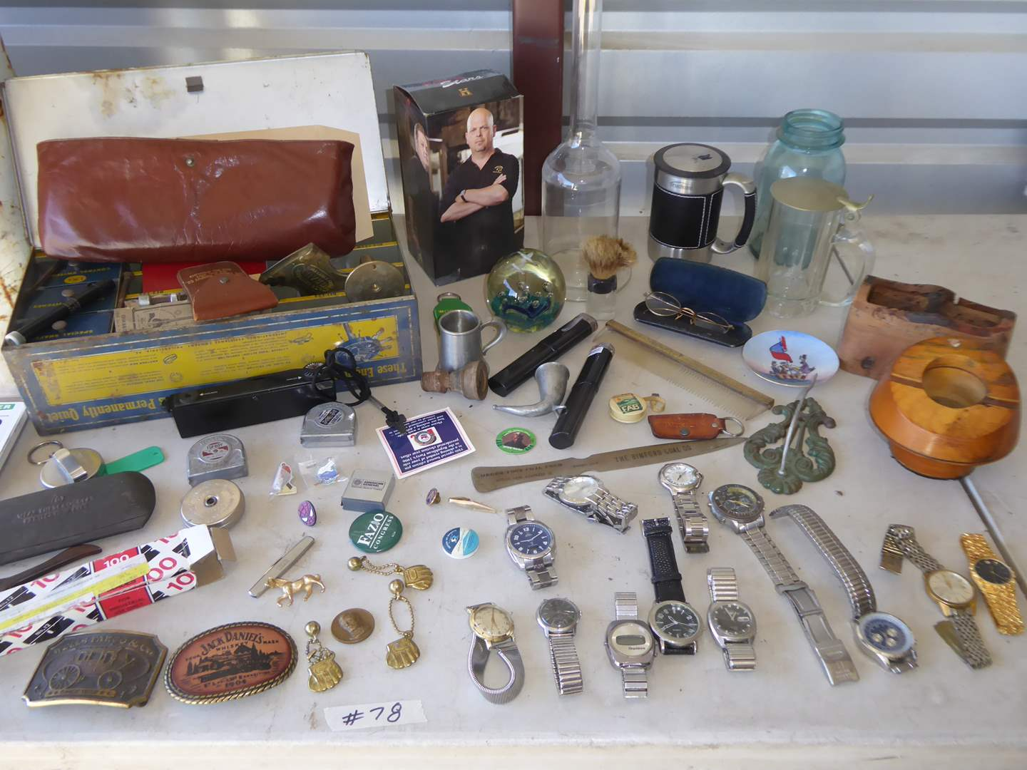 Lot # 78 - Vintage Collectibles - Watches, Belt Buckles, Glasses, Leather Slippers & More  (main image)