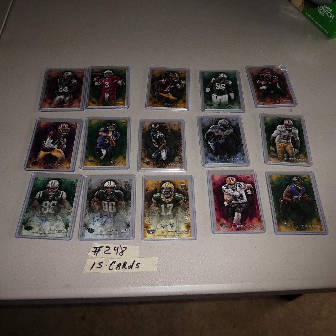 Lot # 248 - 2014 Topps Inception Football Cards - 3 Autographs - 15 cards incased in plastic  (main image)
