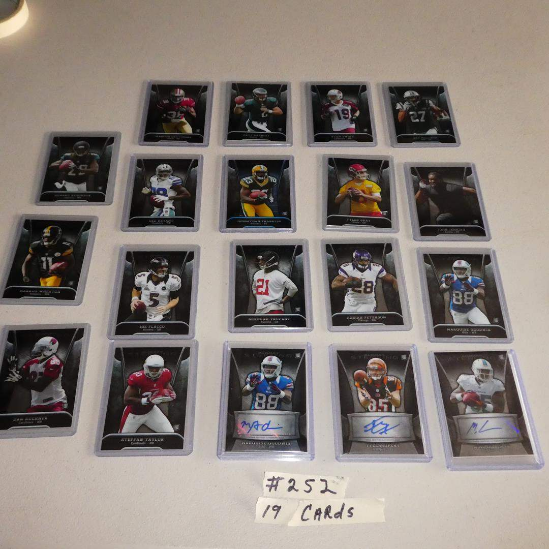 Lot # 252 - Topps Bowman Sterling Football Cards 19 cards incased in plastic  (main image)