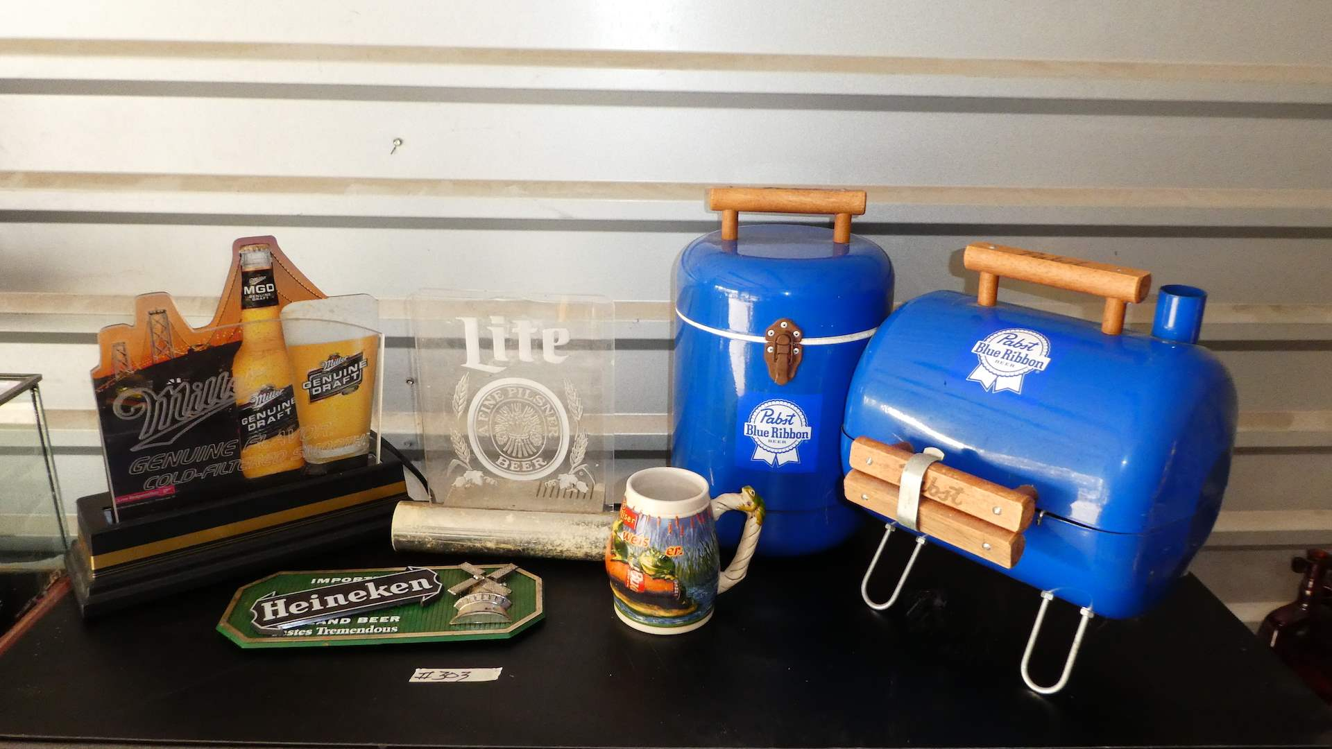 Lot # 303 - Vintage Pabst Blue Ribbon Grill & Cooler, Light up Signs and Stein (main image)
