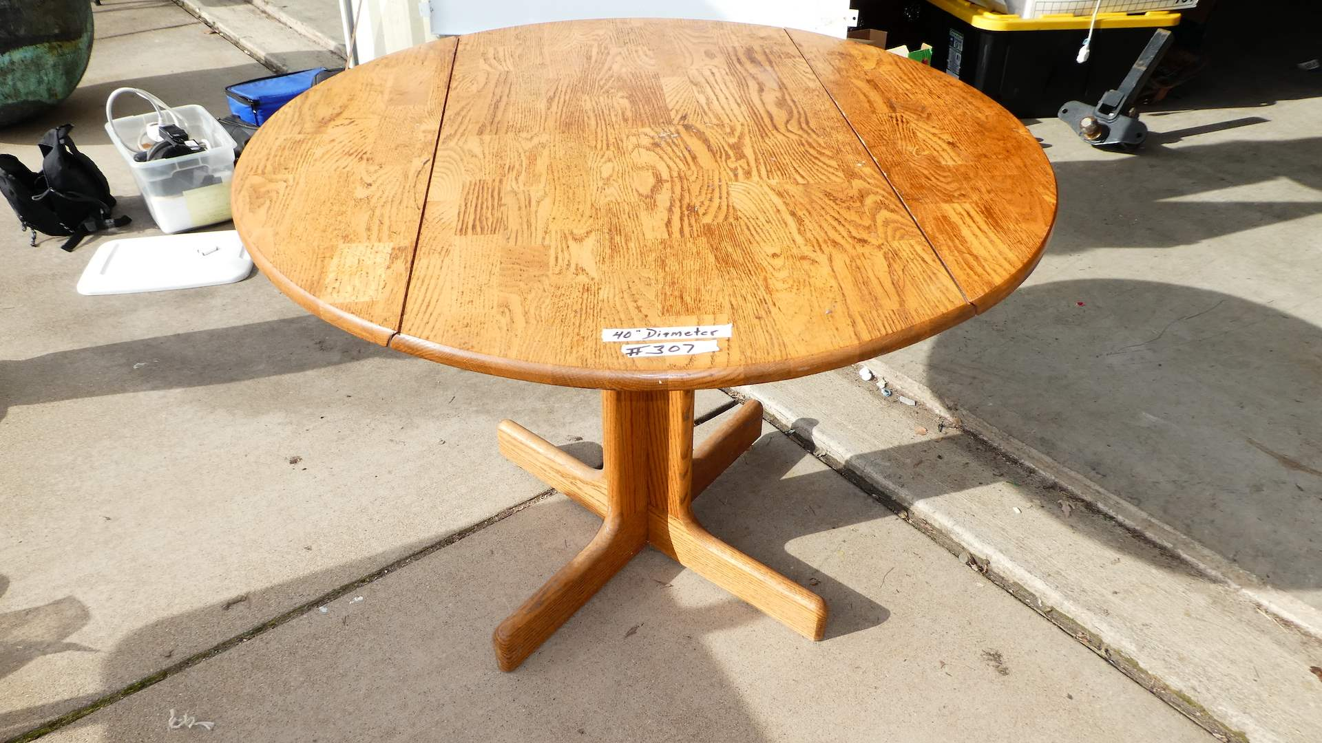 "Lot # 307 - Cute Round Drop Leaf Table (40"" Diameter) (main image)"