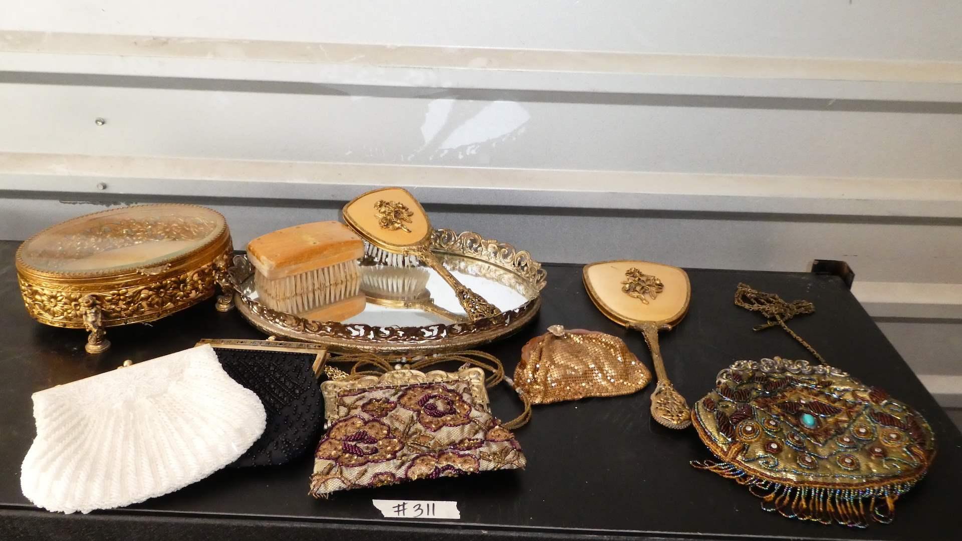Lot # 311 -Adorable Vintage Vanity Set, Vintage Beaded Purses & Vintage Gold Chainmail Coin Purse (main image)