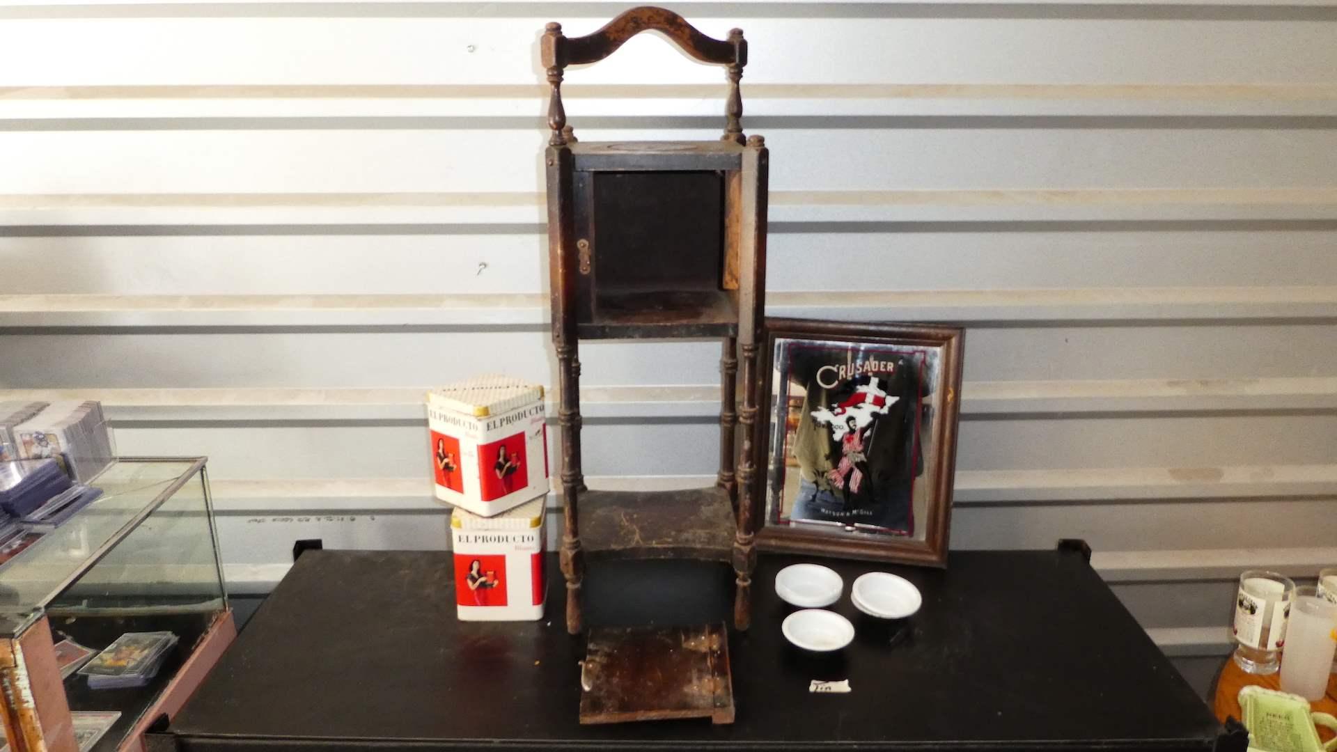 Lot # 313 - Antique Cigar Table w/ Vintage Crusaders Tobacco Mirror and El Producto Blunts Tins (main image)