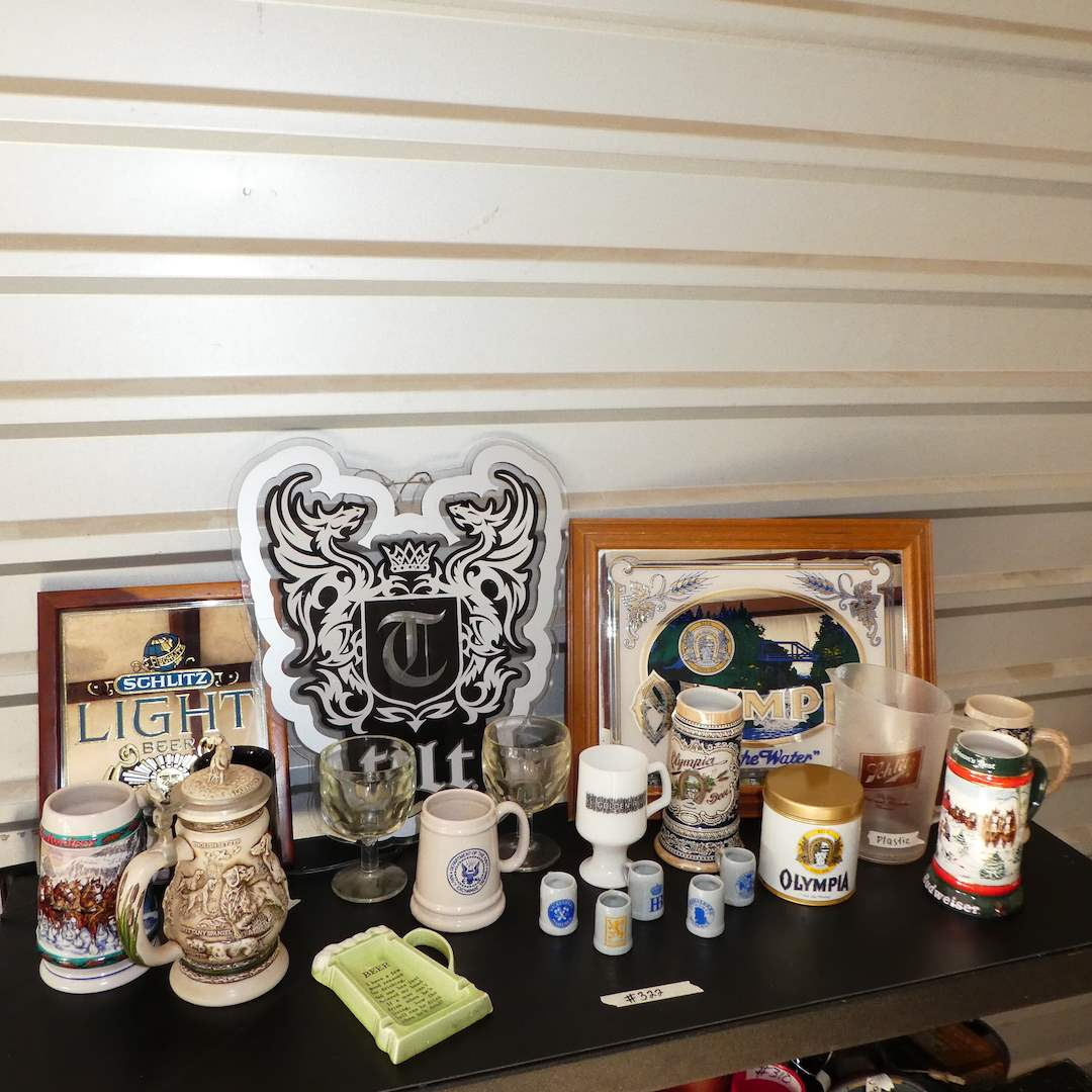 Lot # 322 -Vintage Advertising Olympia & Schlitz Beer Mirrors, Steins and Shot Glasses  (main image)