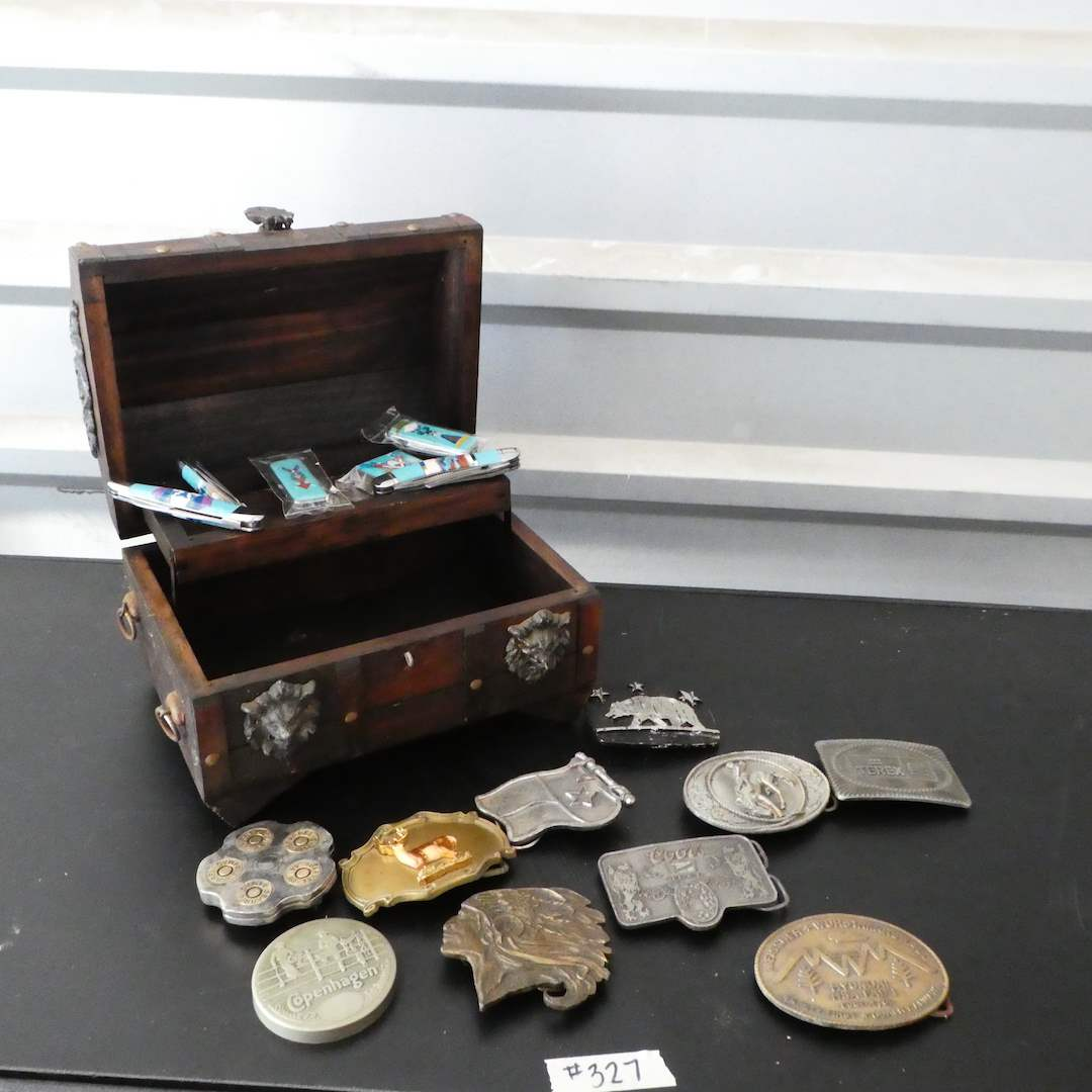 Lot # 327 - Vintage Belt Buckles, Multi-Stone-Turquoise Inlay Pocket Knifes and Vintage Wooden Jewelry Box (main image)