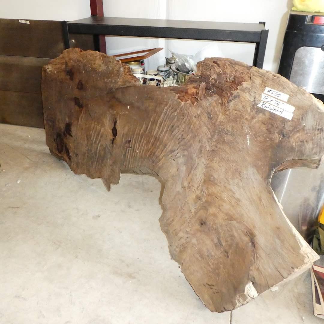 Lot # 330 - Large Piece of Cut Redwood (Live Edge) (main image)