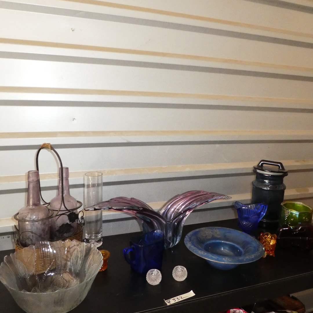 Lot # 332 - Vintage Colored Glass Lot-- Crystal Salt Cellars, Vases, Bottle, Bowls & More (main image)
