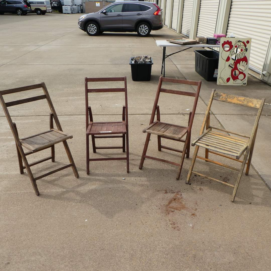 Lot # 333 - Four Vintage Outdoor Folding Chairs (For Restoration) (main image)