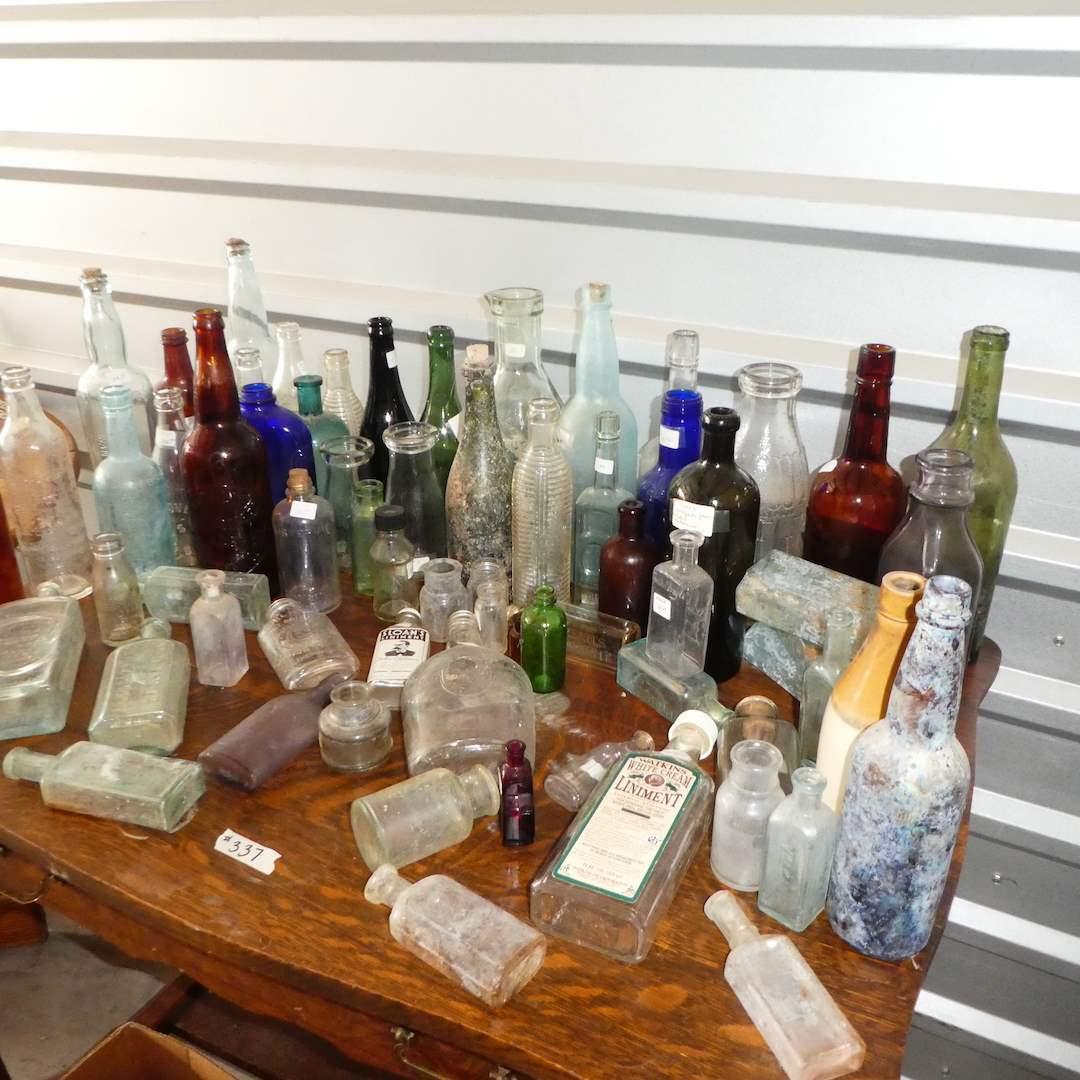 Lot # 337 -Assorted Vintage/ Antique Bottles (Embossed Glass) (main image)