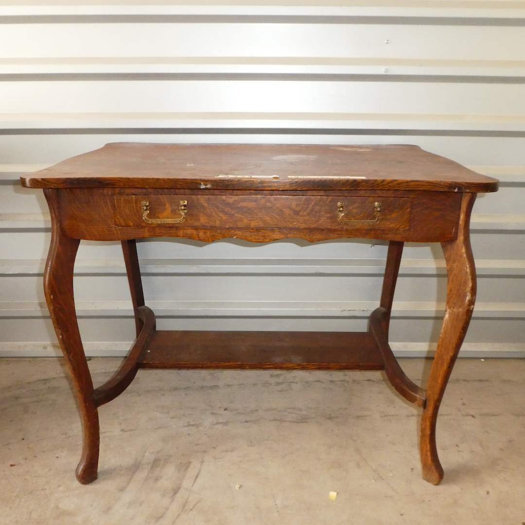 Lot # 339 - Cute Antique Wooden Table w/ Drawer (main image)