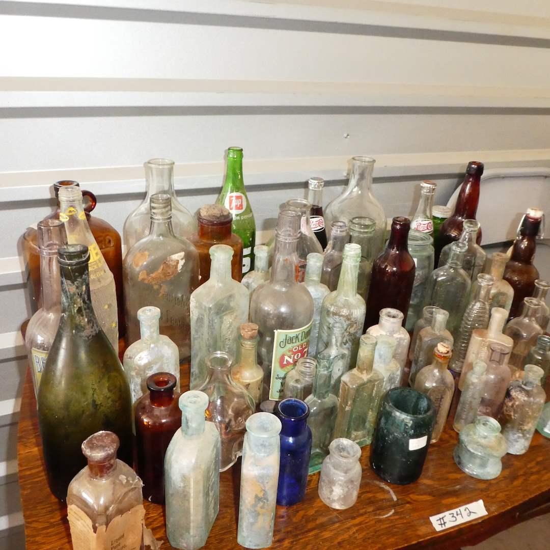 Lot # 342 - Large Vintage Glass Bottle Lot (main image)