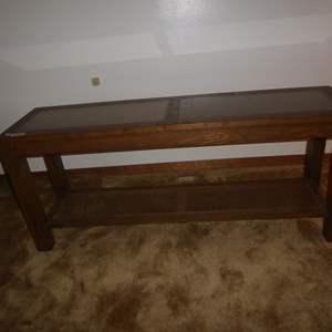 Auction Thumbnail for: Lot # 115 - Vintage Wooden Sofa Table w/Faux Cork Top & Cane Bottom Shelf