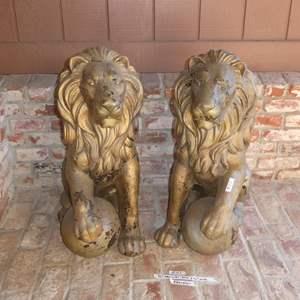 Auction Thumbnail for: Lot # 165 - Pair Fiberglass Lion Statues