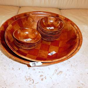 Auction Thumbnail for: Lot # 66 - Two Large Mid-Century Woven Wood Salad Bowls and 18 Serving Bowls