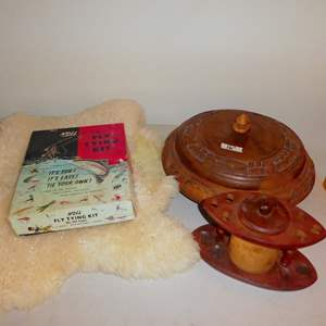 Auction Thumbnail for: Lot # 277 - Vintage Wood Lazy Susan Pedestal Relish Snack Dip Serving Tray, Noll Fly Tying Kit and Sheepskin Throw/Mat