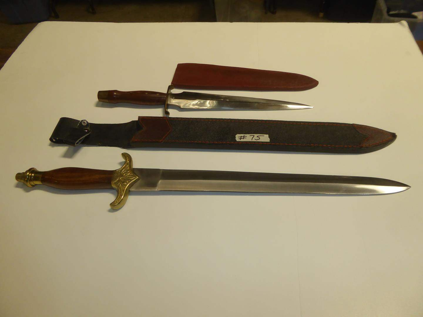 Lot # 75 - Two Bowie Knives w/Sheaths (main image)