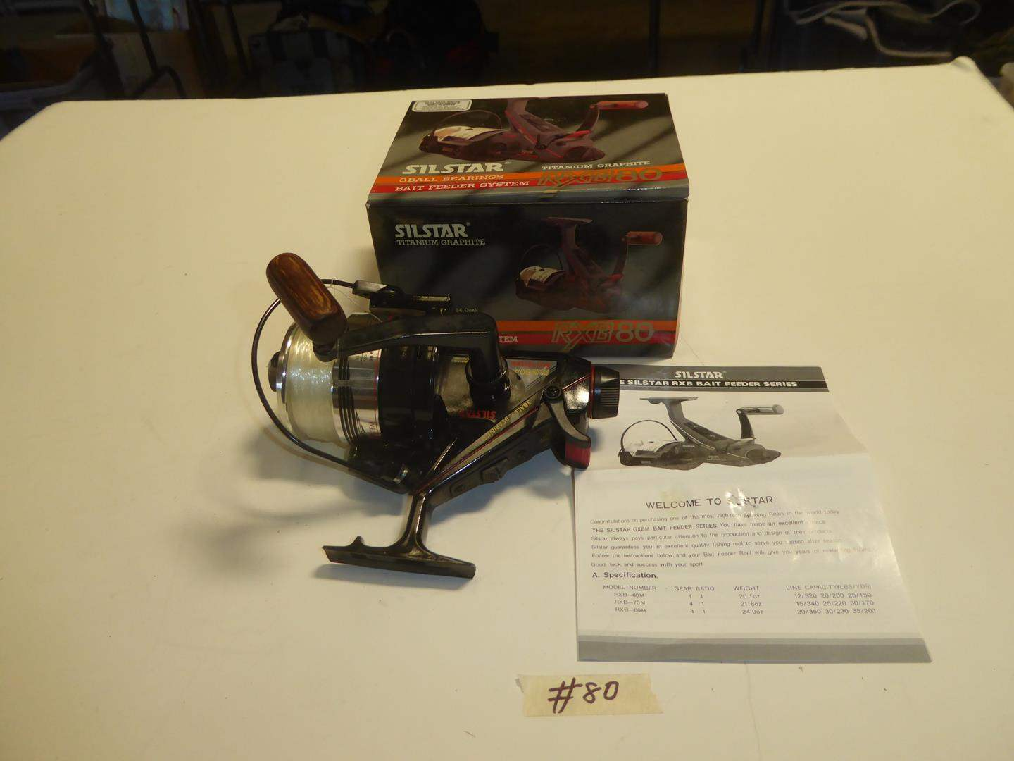 Lot # 80 - Silstar Titanium Graphite RXB80 Bait Feeder System Fishing Reel (main image)