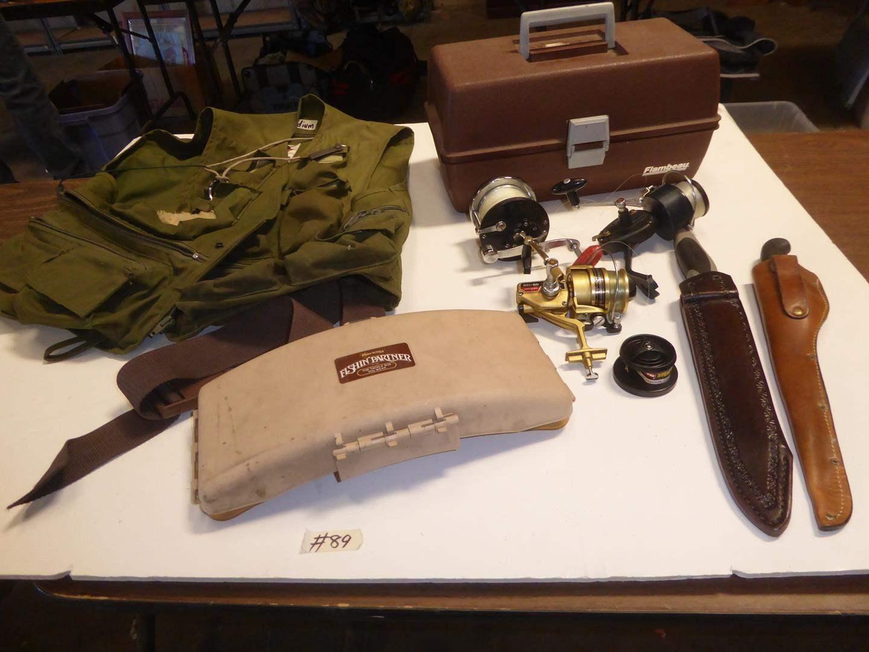 Lot # 89 - Fishing Vest, Tackle Box, Fishing Reels & Filet Knife (main image)