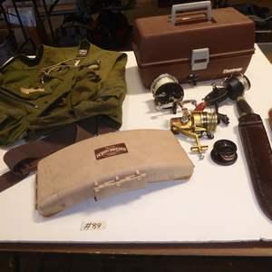 Auction Thumbnail for: Lot # 89 - Fishing Vest, Tackle Box, Fishing Reels & Filet Knife