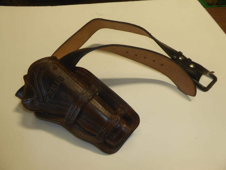 Lot # 109 - Leather Tooled Revolver Holster & Belt (main image)