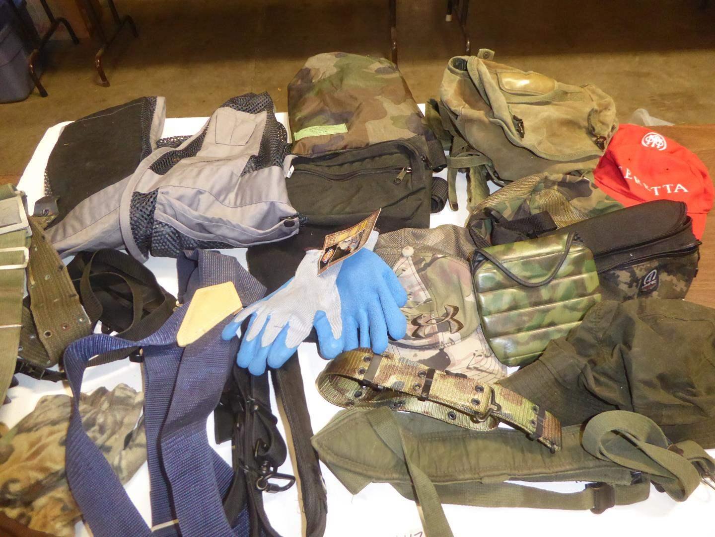 Lot # 117 - Gloves, Hats, Packs, Poncho, Vest & More (main image)