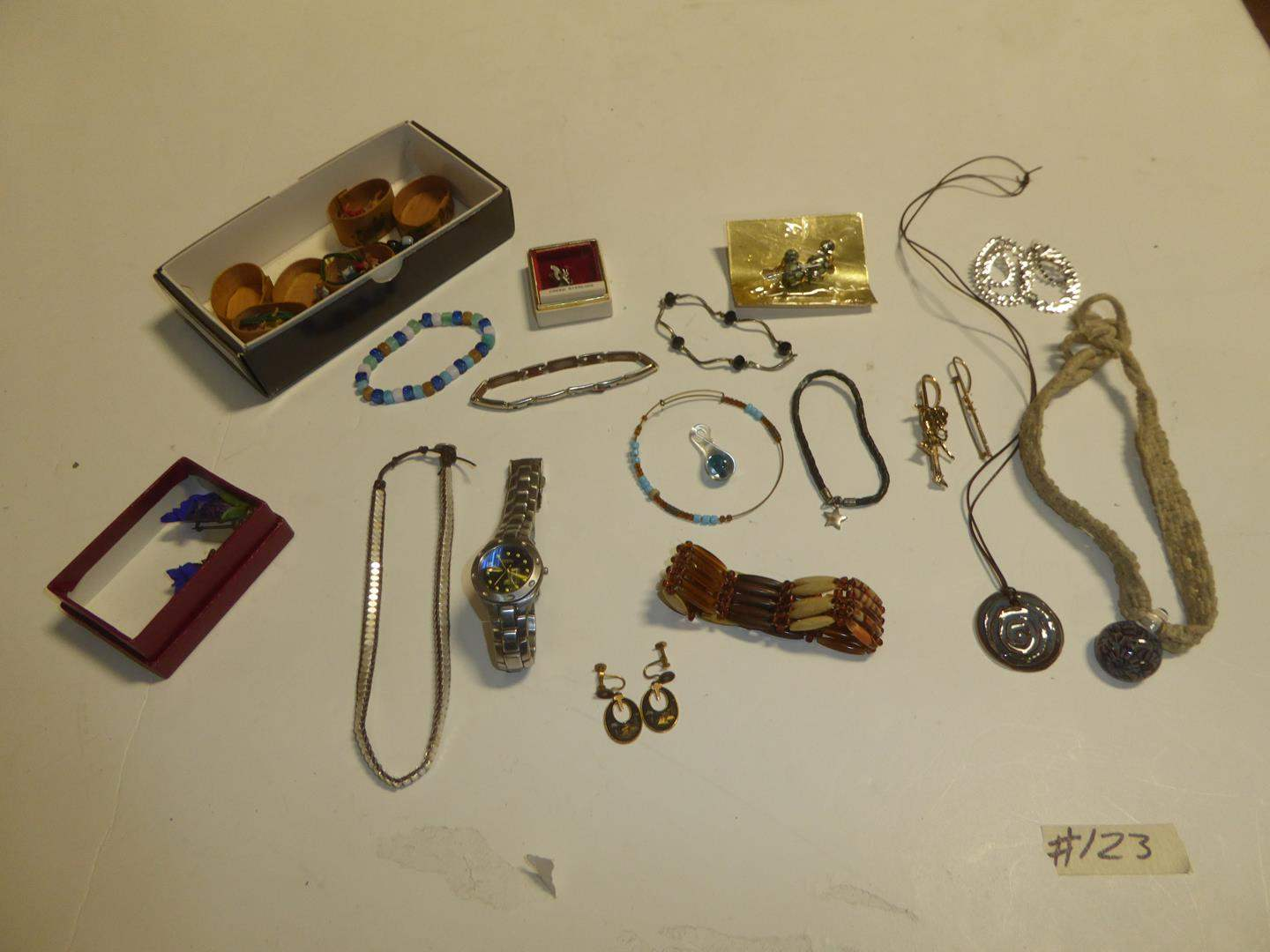 Lot # 123 - Necklaces, Fossil Wristwatch, Bracelets & Earrings (main image)