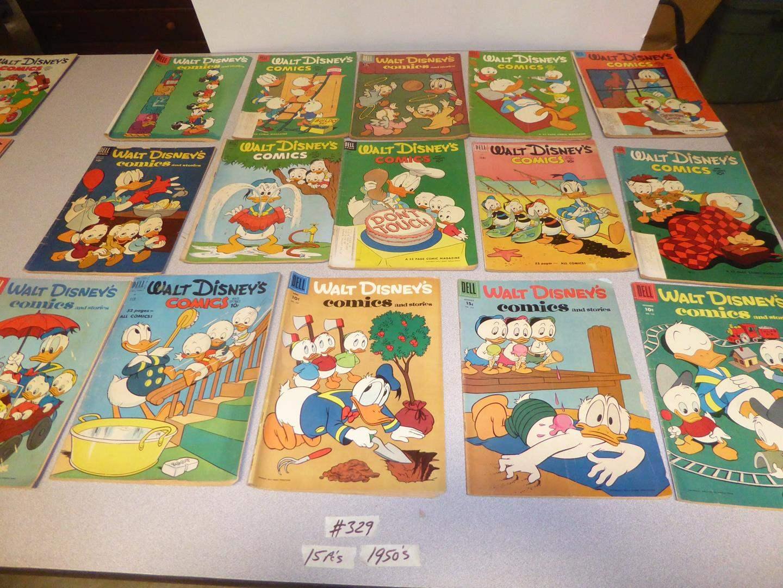 Lot # 329 - Fifteen Vintage 1950's Walt Disney's Comic Books (main image)