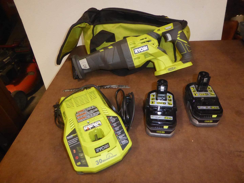 Lot # 125 - Ryobi Cordless Reciprocating Saw, Batteries & Charger - Works (main image)