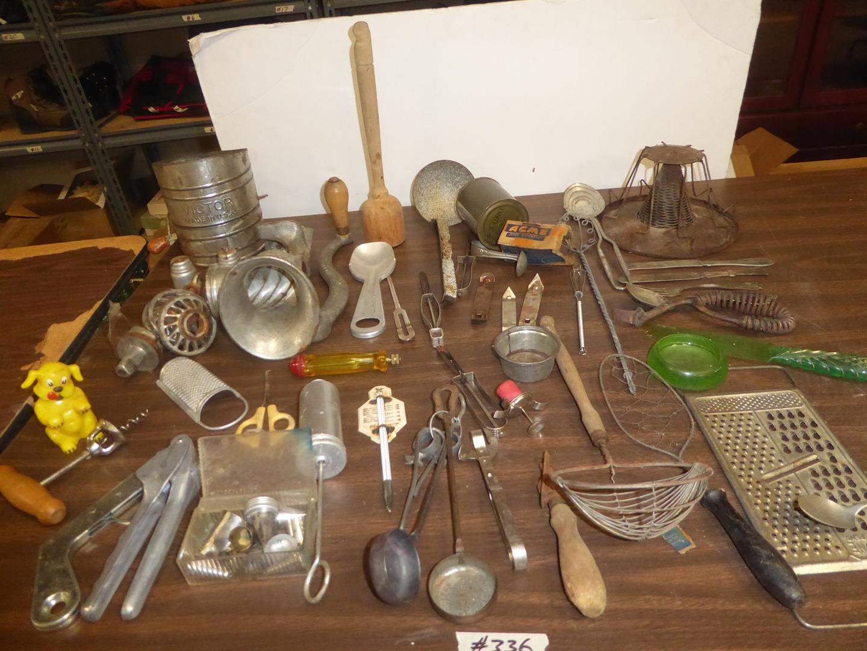 Lot # 336 - Vintage Meat Grinder & Kitchen Utensils (main image)